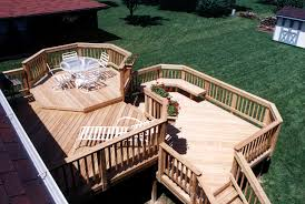 multilevel pressure treated wood deck archadeck outdoor living
