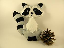 Raccoon Nursery Decor Felt Raccoon Raccoon Stuffed Animal Plush