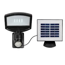 solar motion sensor flood light lowes shop utilitech pro 180 degree 1 head black solar powered integrated