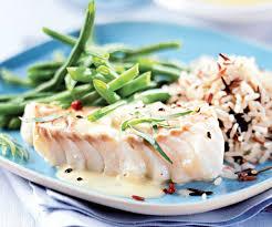 cuisiner du poisson cabillaud au riz sauvage et haricots verts recette riz sauvage