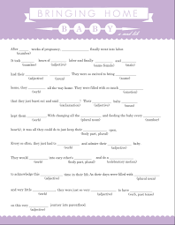purpletrail lavendar and white banner baby mad lib game baby
