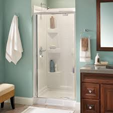 delta lyndall 36 in x 66 in semi frameless pivot shower door in