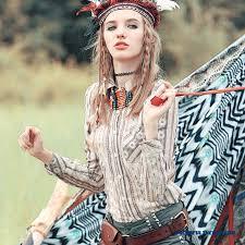 cheap western style women clothing vintage blouse printing slim