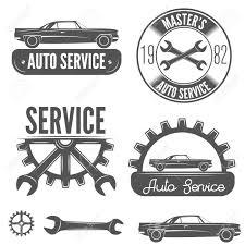 car service logo set of logo badge emblem and label element for mechanic garage