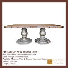 rectangular dining table wood pedestal natural finish wood