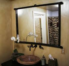 Frames For Bathroom Wall Mirrors Bathroom Interior Large Wall Mirror With Carved Black Pine