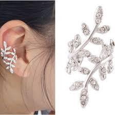 clip on stud earrings silver fashion alloy leaf shape ear clip stud earring earrings