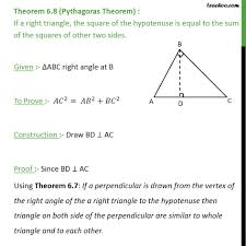 theorem 6 8 pythagoras theorem class 10 chapter 6 triangles theo
