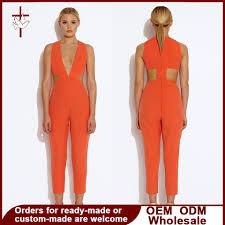 orange jumpsuit 2016 autumn v neck jumpsuits solid orange white rompers
