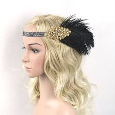 1920s headband 1920s great gatsby headpiece black gold beading feather vintage