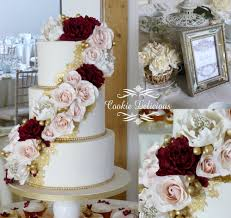 wedding cake essex masala burgundy blush wedding cake with edible gold lace