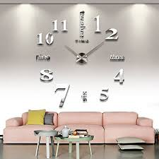 Large Wall Decor Ideas For Living Room Amazon Com Cozroom Large Silver 3d Frameless Wall Clock Stickers