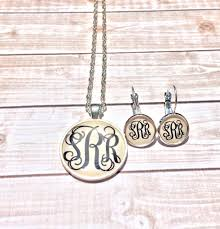 monogramed jewelry silver monogram necklace and monogram earrings monogrammed