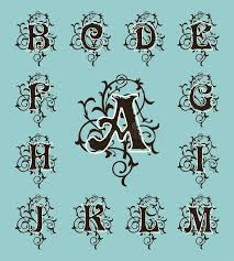 initial fonts for monogram vintage set capital letters floral monograms and filigree font