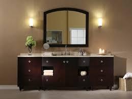 rectangle dark brown wood bathroom vanity with stainless steel