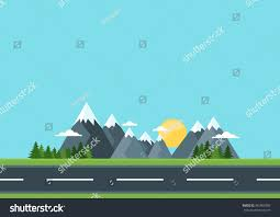 country road green field mountains rural stock vector 385909300