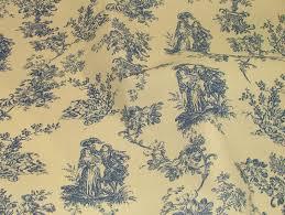 blue u0026 natural cream linen look toile de jouy curtain upholstery