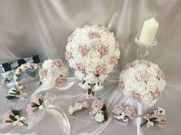 artificial wedding flowers vintage mocha pink ivory with iridescent brooches