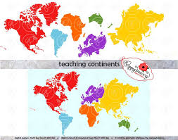 Seven Continents Map Teaching Continents Digital Clip Art North America South