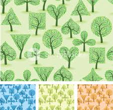 artistic ornamental forest vector seamless background set