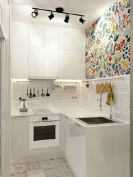 wallpaper kitchen backsplash corner small white kitchen idea track lighting colorfull floral