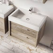 winslow 750mm wall mounted vanity unit u0026 basin light swan oak