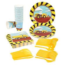 construction party supplies disposable dinnerware set serves 24 construction party