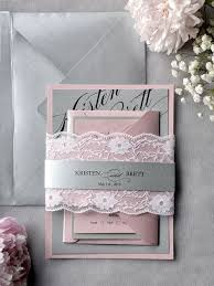 Pink Wedding Invitations Picture Of Grey And Pink Lace Wedding Invitation