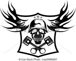 skull and pistons with flames vector illustration of skull
