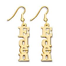 Gold Name Earrings 18 K Gold Sterling Sliver Vertical Design Custom Made Name Earring