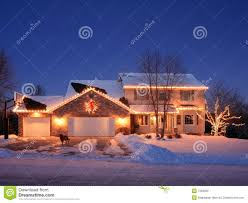 Christmas Lights House by Christmas Lights And Residential House Royalty Free Stock Images