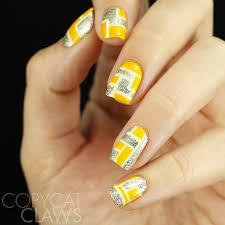 copycat claws 40 great nail art ideas yellow u0026 silver