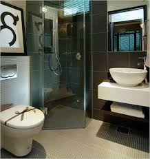 modern small bathroom design featuring brown unfinished wooden