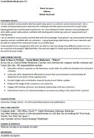 Hobbies And Interests On Resume Examples by Social Media Moderator Cv Example Forums Learnist Org