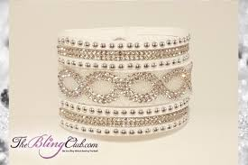 clasp cuff bracelet images High fashion white ice infinity vegan leather bling cuff crystals jpg