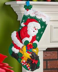 santa and puppy dog bucilla christmas stocking kit