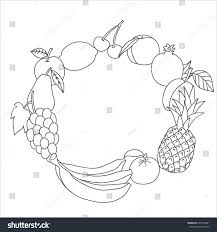 set fruit apple pear plum pineapple stock vector 601974881