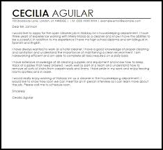 sample cover letter for a cleaner job cover letters livecareer