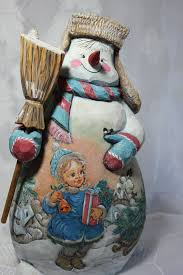 wooden snowman carved wooden snowmen russian carved and painted wooden snowman