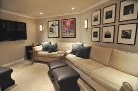 How To Decorate Home Theater Room I Like The Neutral Colors And The Wall Lights Home Room