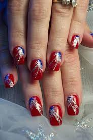 4th of july nails red nails with blue u0026 white fan brush accents