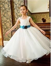 formal simple flower dresses long tulle ball gown kids