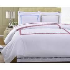 Colored Down Alternative Comforter Golinens Luxury 100 Cotton White With Greek Style Embroidered