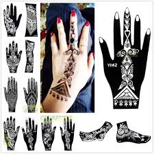 1pc india henna temporary tattoo stencils for hand leg arm feet