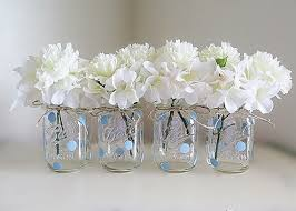 jar baby shower blue polka dot jar centerpieces baby shower jars