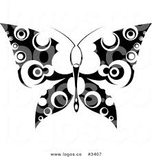 royalty free vector of a black and white butterfly tattoo logo by
