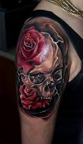 upper sleeve with nice rose and skull tattoo golfian com