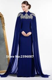 high neck royal blue chiffon with cape crystal beaded dubai kaftan