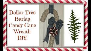 dollar tree 4 burlap candy cane wreath diy christmas decor