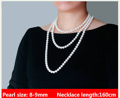 pearl necklace lengths images Mydear genuine pearl necklace women 9 10mm freshwater pearls jpg